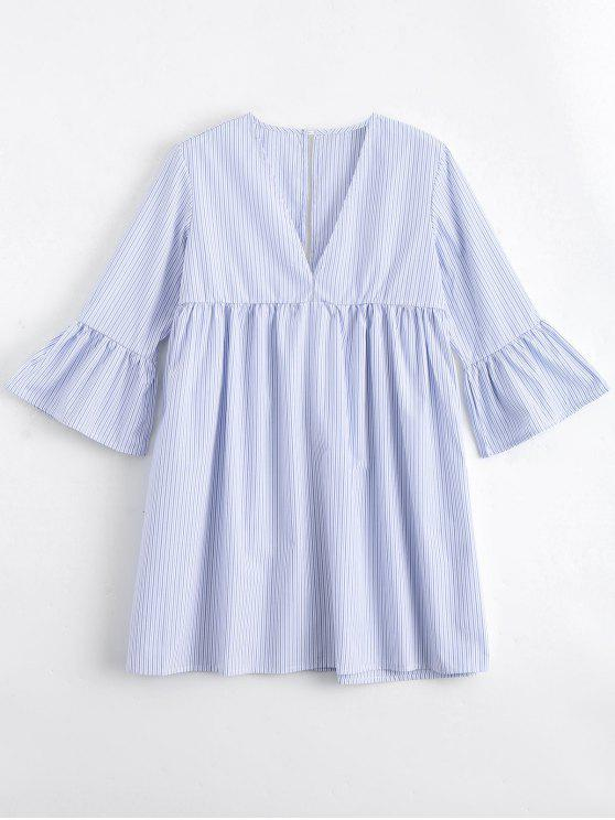 chic Flare Sleeve Stripes Cut Out Tunic Dress - STRIPE S