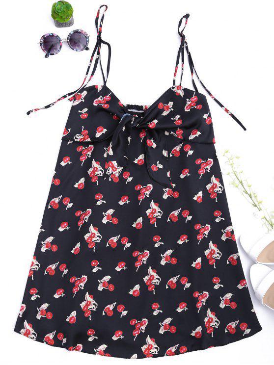 فستان بونوت طباعة الكرز قطع مثير - أسود S