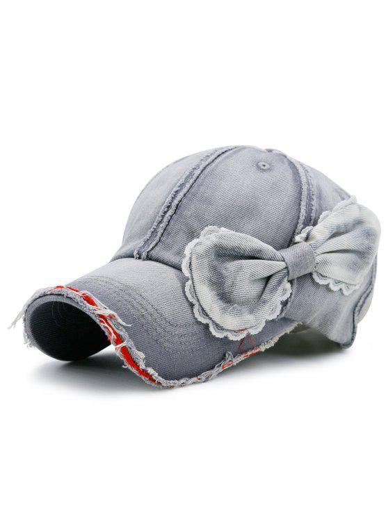 Nastro denim abbellito protezione artificiale baseball berretto - Grigio Chiaro