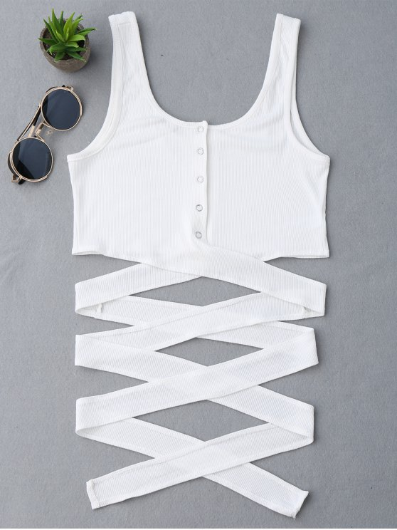 Knitted Crossover Button Up Tank Top - Blanco Única Talla