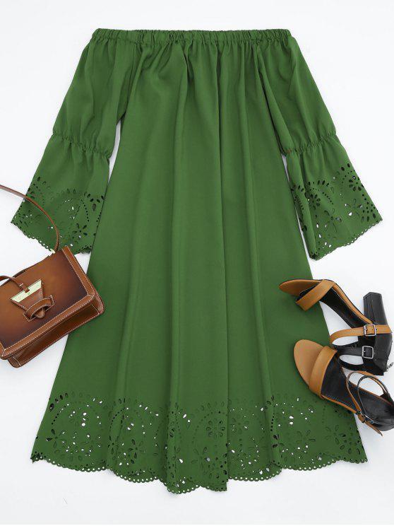 Vestido Midi Fuera del Hombro con Detalle Ahuecado - Ejercito Verde M