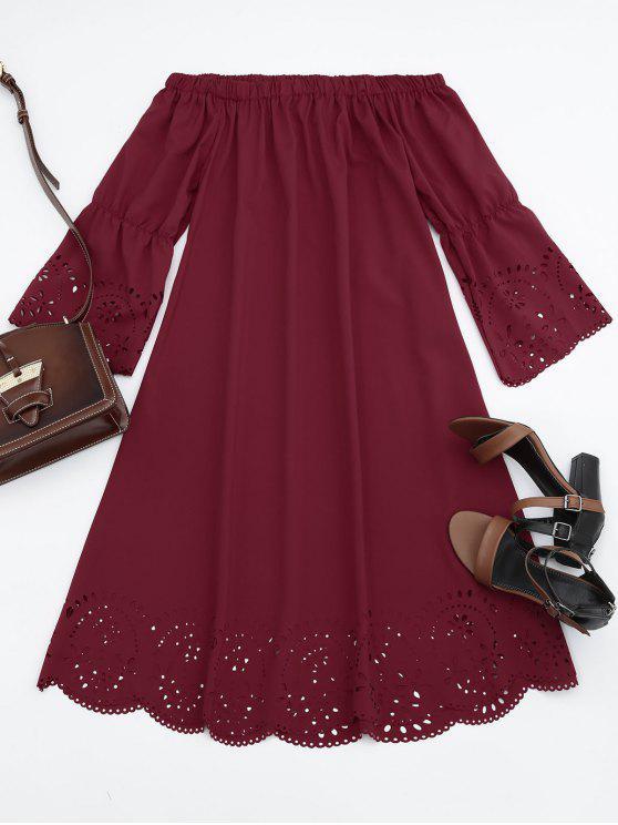 Vestido Midi Fuera del Hombro con Detalle Ahuecado - Burdeos M