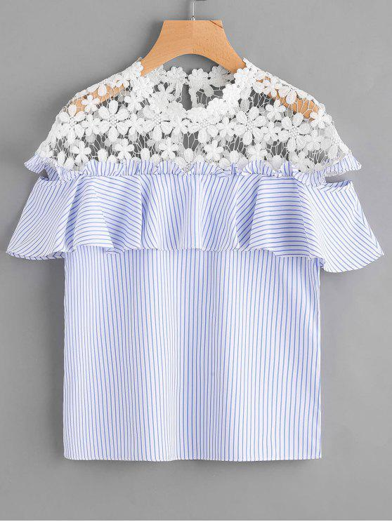 Stripes Ruffles Lace Panel Top - Listras S
