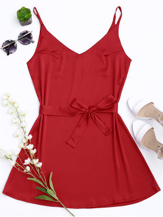 Vestido con Tirante Fino de Satén con Cinturón - Rojo L