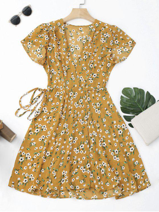 outfit Tiny Floral Mini Wrap Dress - YELLOW L