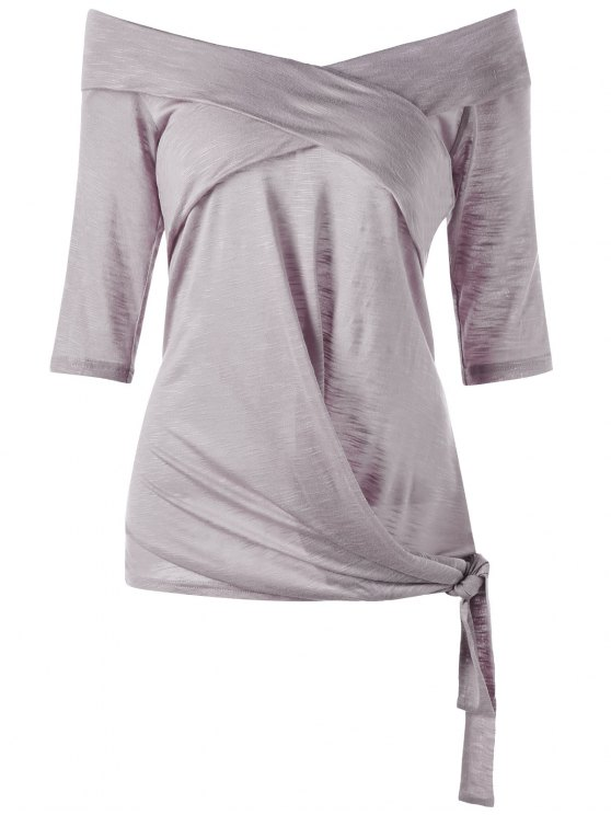 Tamanho Plus Off The Shoulder Tie Side Top - Esmagamento 2XL