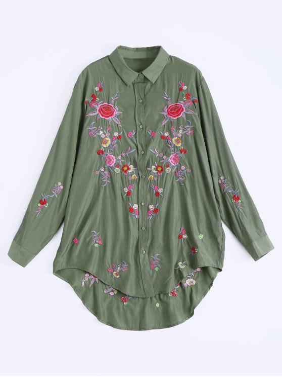 Botón bordado floral encima del vestido bajo alto - Verde del ejército M