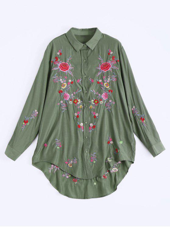 buy Floral Embroidered Button Up High Low Dress - ARMY GREEN L
