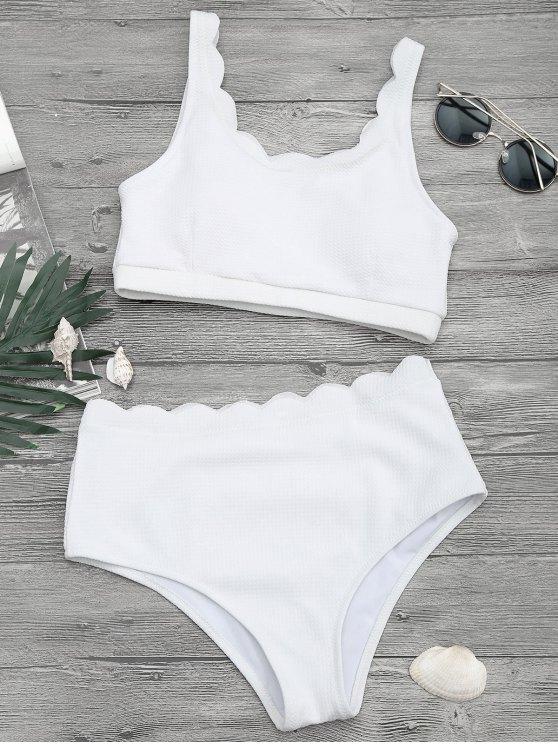 hot Scalloped High Waisted Bralette Bikini Set - WHITE L