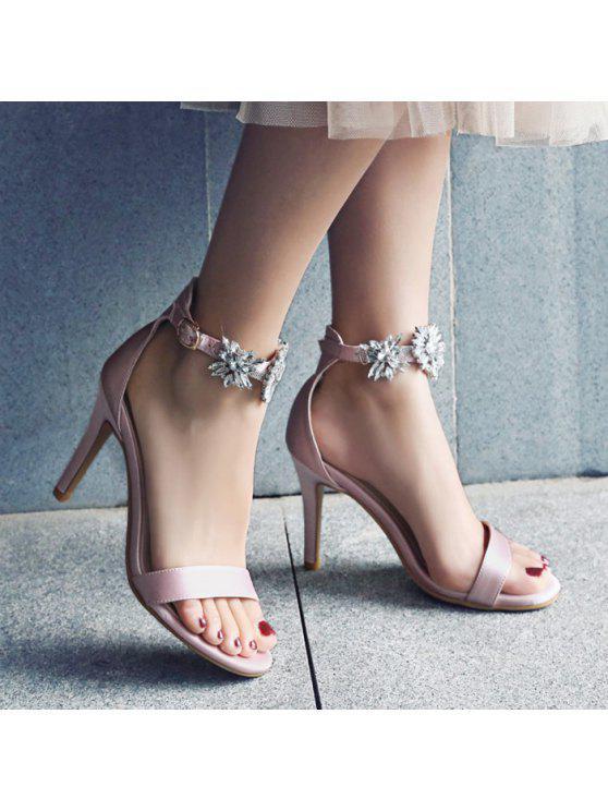 3f2f49927565 31% OFF  2019 Rhinestone Flower Open Toe High Heel Sandals In PAPAYA ...