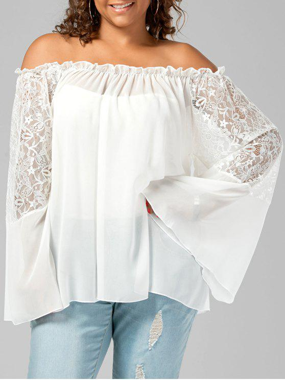 Lace Trim Off The Shoulder Plus Size Top - Branco 4XL
