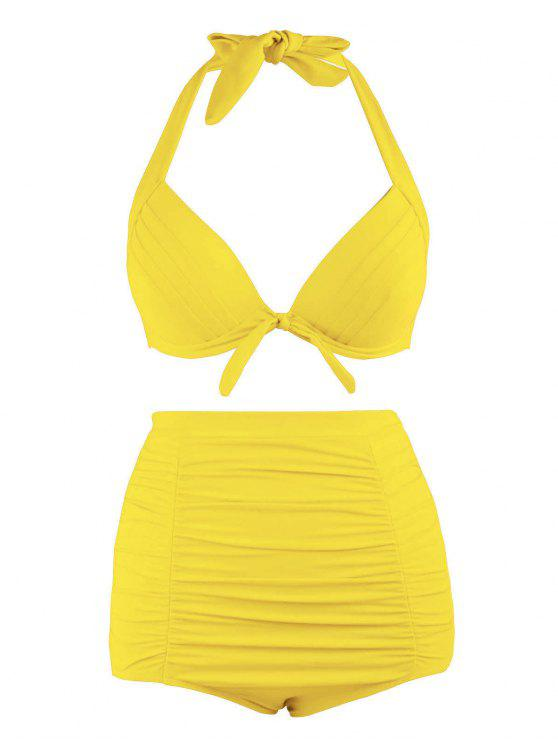 best Plus Size Halter Vintage High Waist Bikini Swimwear - YELLOW 4XL