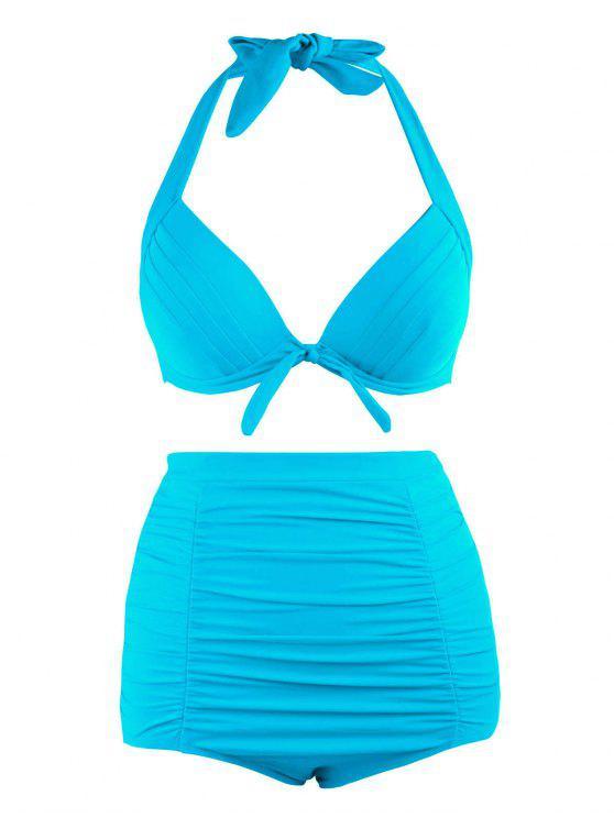 hot Plus Size Halter Vintage High Waist Bikini Swimwear - LAKE BLUE 3XL