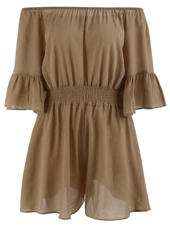 latest Plus Size Ruffled Off The Shoulder Chiffon Romper - BROWN 5XL