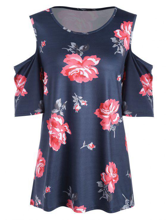 Plus Size Floral Open Shoulder High Low T-shirt - Azul Arroxeado 5XL