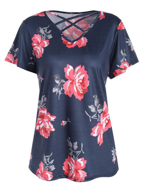 affordable Plus Size Floral Criss Cross Cutout T-shirt - PURPLISH BLUE XL
