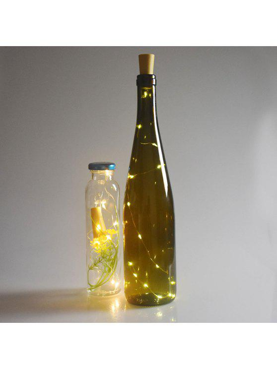 عيد الميلاد الديكور 2PCS زجاجة سدادة الصمام سلسلة ضوء - الأصفر