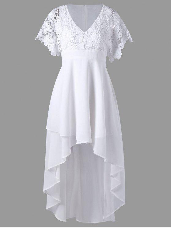 الدانتيل لوحة عالية منخفضة تنحنح اللباس المتدفق - أبيض L