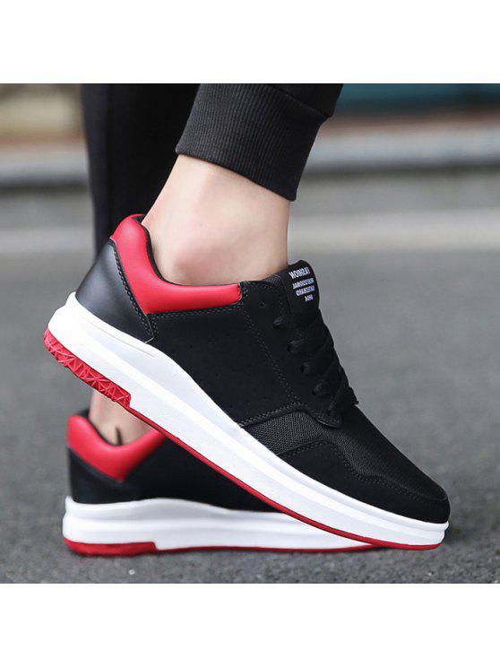 شبكة فو الجلد المدبوغ أحذية تنفس عارضة - أسود أحمر 42