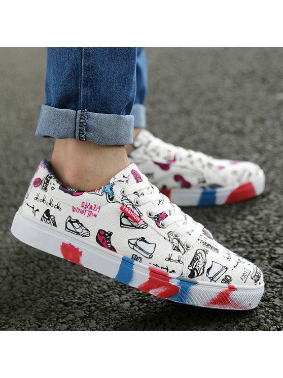 اللون كتلة تنفس التعادل يصل قماش الأحذية - أبيض 40