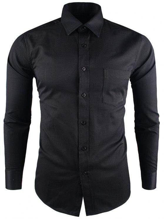قميص طوق طوق الجيب الأعمال حك - أسود 39