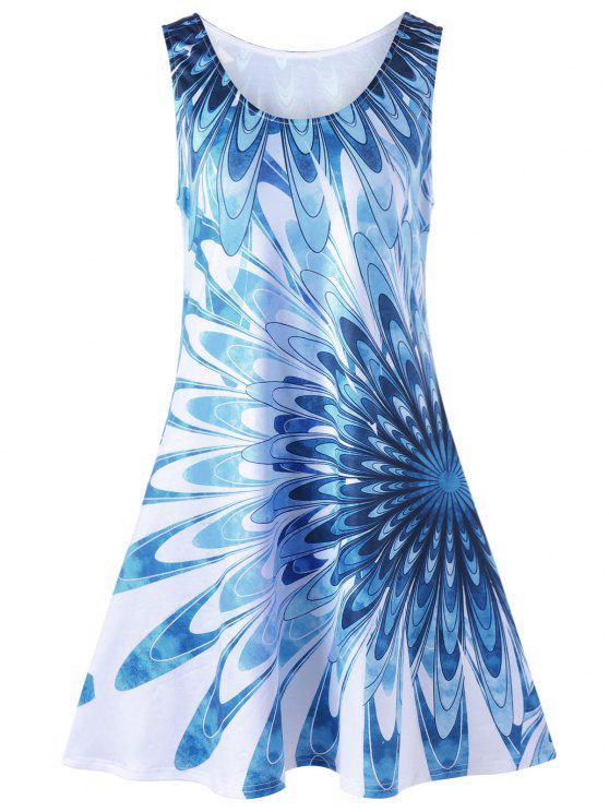 فستان سترة الحجم الكبير طباعة الأزهار بلا أكمام - أزرق 4XL