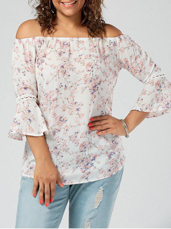 Chiffon Blumen Schulterfreie Übergroße Bluse - Pink 2XL