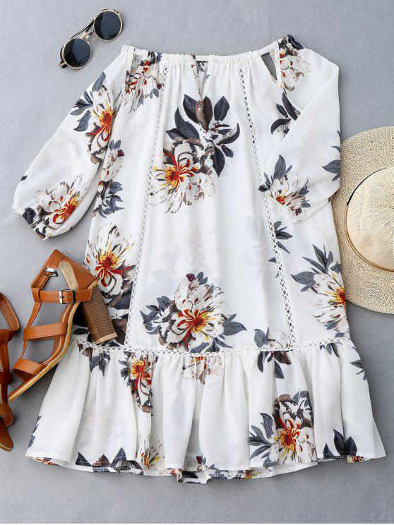 ladies Cut Out Floral Print Ruffle Hem Dress - WHITE M