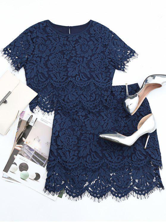 women Scalloped Lace Top and Skirt Set - PURPLISH BLUE S