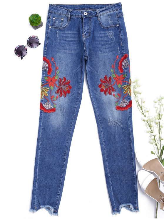 outfits Cutoffs Floral Embroidered Narrow Feet Jeans - DENIM BLUE L