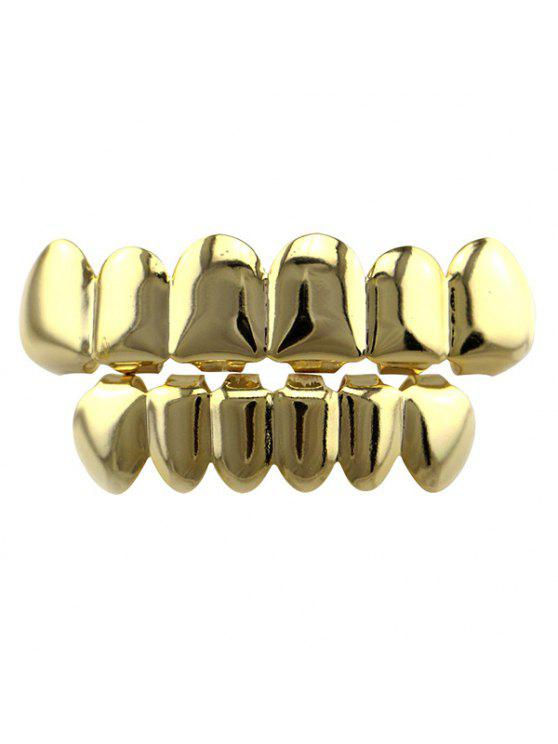 Smooth Hip Hop Top Bottom Teeth Grillz Set - Dourado