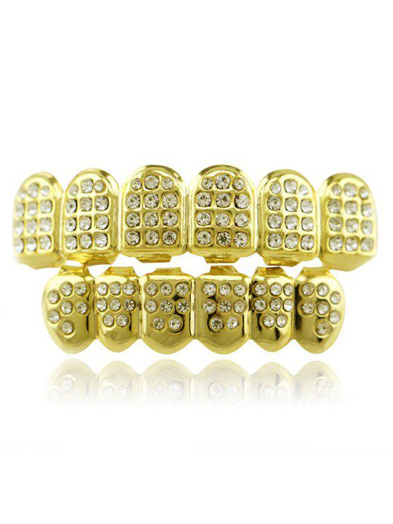 Hip Hop Rhinestone Top Bottom Teeth Grillz Set - Dourado
