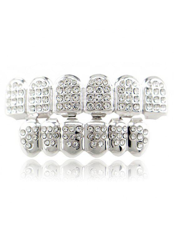 Hip Hop Strass Top Unterseite Zähne Grillz Set - SILVER