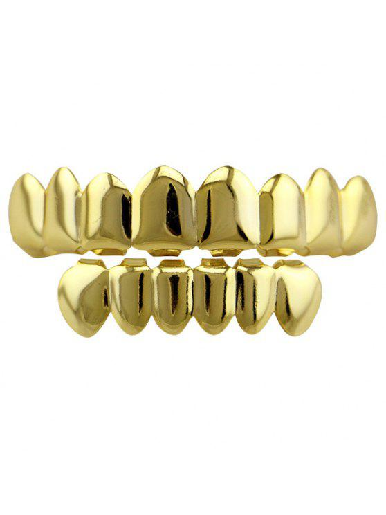 outfits Hip Hop Top and Bottom Teeth Grillz Set - GOLDEN