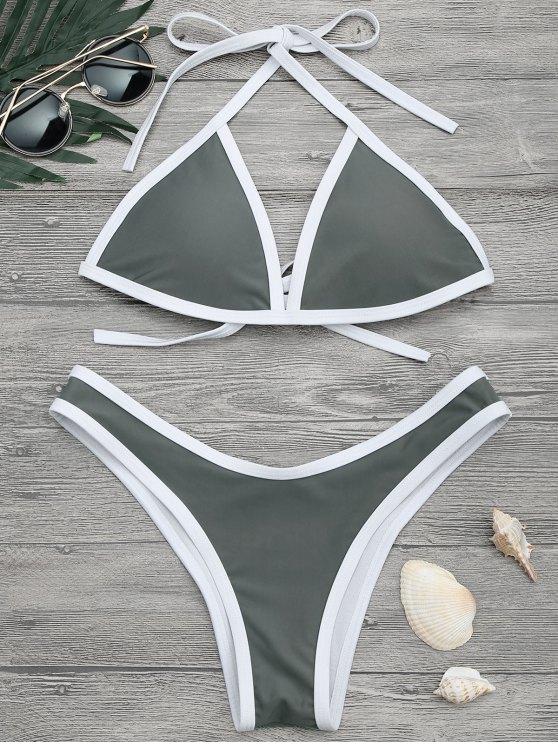 ladies High Cut Contrast Piping Bikini Set - GRAY M