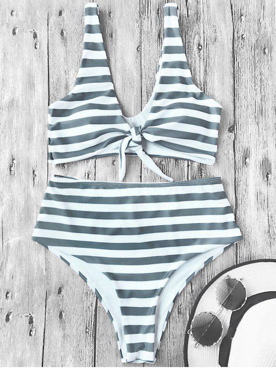 affordable Knotted Striped High Waisted Bikini Set - STRIPE S