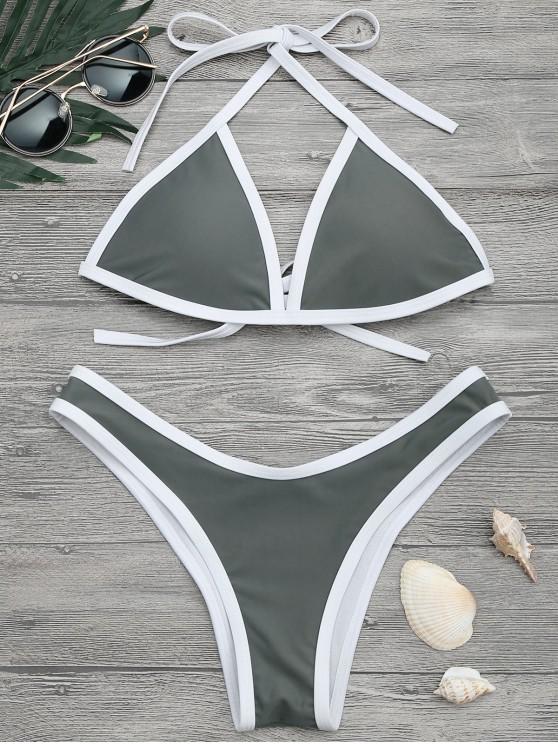 Hohe Schlitz Kontrast Piping Bikini Set - Grau L