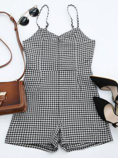 Cut Out Cami Back Bowknot Plaid Romper - Checked L