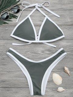 High Cut Contrast Piping Bikini Set - Gray M
