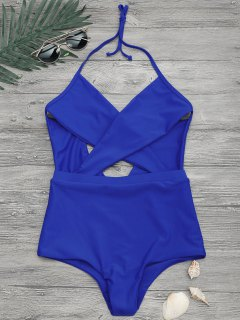 Cut Out Cross Front One Piece Swimsuit - Blue M