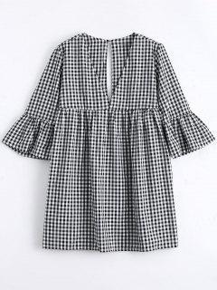 Mini Vestido Recto De Cuadro Con Manga Acampanada - Comprobado M