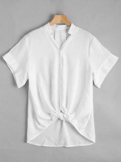 V Neck Button Up Longline Blouse - White S