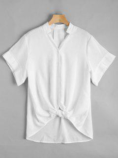 V Neck Button Up Longline Blouse - Blanc M