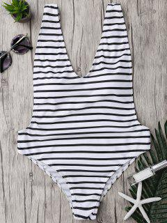 Plus Size Side Boob Striped Swimsuit - White And Black 5xl