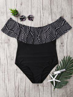 Plus Size Ruffles Off The Shoulder Swimsuit - Black 5xl