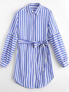 Longline Belted Striped Shirt - Stripe L
