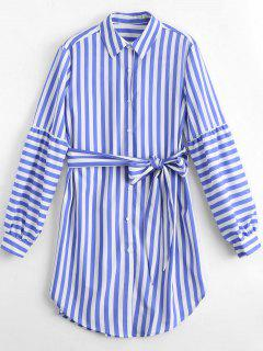 Longline Belted Striped Shirt - Stripe S