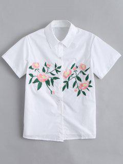 Botón De Manga Corta Hasta La Camisa Bordada Floral - Blanco L