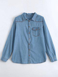Bird Embroidered Denim Shirt With Pocket - Denim Blue M