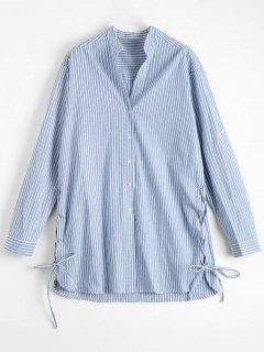 Lace Up Button Up Striped Blouse - Light Blue S